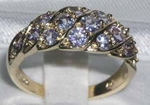 Exquisite 9K Yellow Gold Tanzanite Band Ring