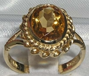 Elegant 9K Yellow Gold Citrine Solitaire Ring