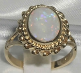 Elegant 9K Yellow Gold Australian Opal Solitaire Ring