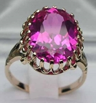 Stunning 9K Yellow Gold Synthetic Pink Sapphire Fleur-de-Lyse Solitaire Ring