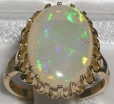 Sumptuous 9K Yellow Gold Large Natural Australian Opal Solitaire Ring