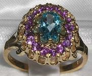 Exquisite 9K Yellow Gold Blue Topaz and Amethyst Cluster Ring