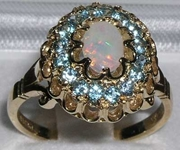 Exquisite 9K Yellow Gold Australian Opal and Blue Topaz Cluster Ring
