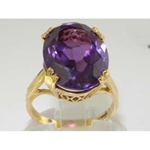 Exquisite 9K Yellow Gold Natural Amethyst Solitaire Ring