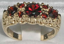Elegant 9K Yellow Gold Garnet Set Seven Stone Ring
