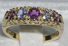 Ornate 9K Yellow Gold Amethyst and Tanzanite Set Ring