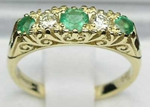 Ornate 9K Yellow Gold Emerald and Diamond Scroll Design Ring