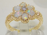 Stunning 14K Yellow Gold Diamond and Opal Flower Cluster Ring