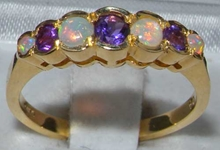 Colourful 9K Yellow Gold Amethyst and Opal Seven Stone Ring