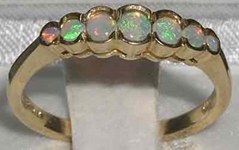 Beautiful 9K Yellow Gold Australian Opal Seven Stone Ring