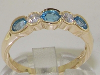 18K Yellow Gold Five Stone Blue Topaz and Diamond Set Ring
