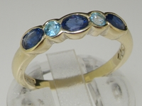 Classic 9K Yellow Gold Sapphire and Blue Topaz Ring