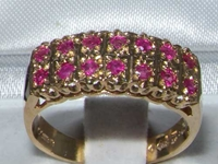 9K Yellow Gold Double Row Ruby Half Eternity Ring