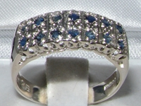 Sterling Silver Double Row Sapphire Half Eternity Ring