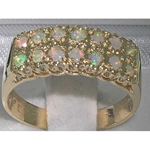 9K Yellow Gold Double Row Opal Half Eternity Ring