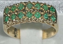 9K Yellow Gold Double Row Emerald Half Eternity Ring
