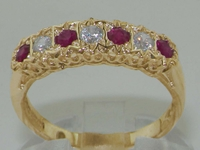 Stunning 9K Yellow Gold Diamond and Ruby Half Eternity Ring