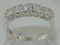 Gorgeous Ornate Sterling Silver Diamond and Opal Half Eternity Ring