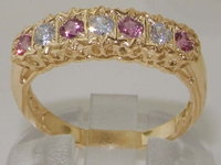 Elegant 9K Yellow Gold Diamond and Pink Tourmaline Half Eternity Ring
