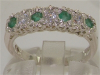 Stunning 9K White Gold Diamond and Emerald Half Eternity Ring