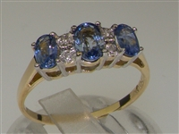 Stunning 9K Yellow Gold Ceylon Sapphire and Diamond Trilogy Design Ring