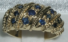 Ornate 9K Yellow Gold Sapphire Ring