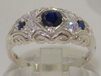 Elegant Sterling Silver Sapphire and Diamond Ring