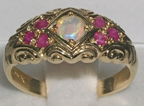 Stunning 9K Yellow Gold Opal and Ruby Ring