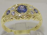 Ornate 9K Yellow Gold Tanzanite and Diamond Ring