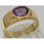 9K Yellow Gold Amethyst Solitaire Ring with Milgrain Edging