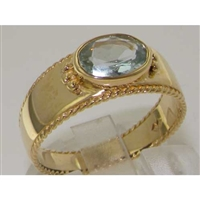 Elegant 9K Yellow Gold Aquamarine Milgrain Edged Band