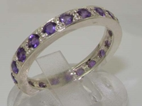 Stunning Sterling Silver Amethyst Full Eternity Band