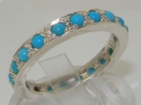 Stunning Sterling Silver Turquoise Full Eternity Ring