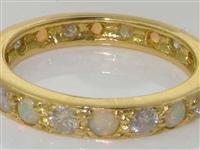 Elegant 18K Yellow Gold Opal and Diamond Full Eternity Ring