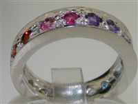 Exuberant 14K White Gold Natural Multi-Gemstone Full Eternity Ring