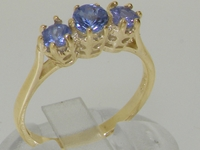 9K Yellow Gold Vibrant Marine Blue Sapphire Trilogy Ring