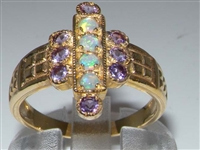 Stunning 9K Yellow Gold Opal and Amethyst Art Deco Inspired Ring