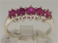Exquisite 10K White Gold Natural Ruby Five Stone Ring