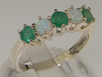 Stunning 10K White Gold Emerald and Opal Half Eternity Ring