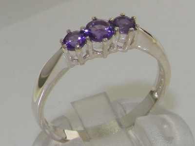 Stunning Sterling Silver Amethyst Set Trilogy Ring