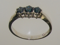 Modern Sterling Silver London Blue Topaz Trilogy Ring