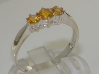 Stunning Sterling Silver Citrine Trilogy Ring