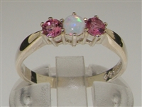 Stunning Sterling Silver Opal and Pink Tourmaline Trilogy Ring