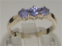 Vibrant Sterling Silver Tanzanite Set Trilogy Ring