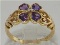 Beautiful 9K Yellow Gold Four Leaf Clover Diamond and Amethyst Ring
