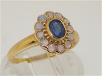 Dainty 9K Yellow Gold Art Deco Style Sapphire and Opal Flower Ring