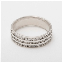 Elegant Platinum Diamond & Ruby Half Eternity Ring, Wedding Band