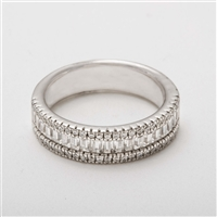 Beautiful Platinum 1.25ct Baguette & Brilliant Cut Diamond Eternity Wedding Ring