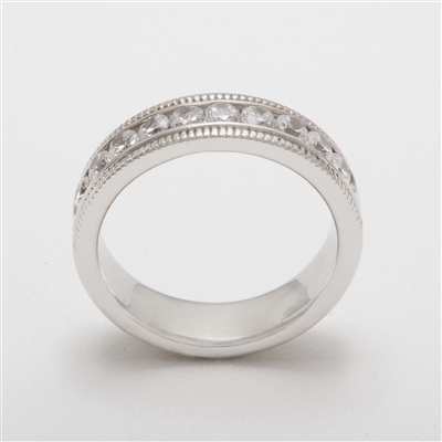 Elegant Platinum 0.75ct Diamond Half Eternity Ring