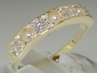 Classic 9K Yellow Gold Pearl and Diamond Half Eternity Ring